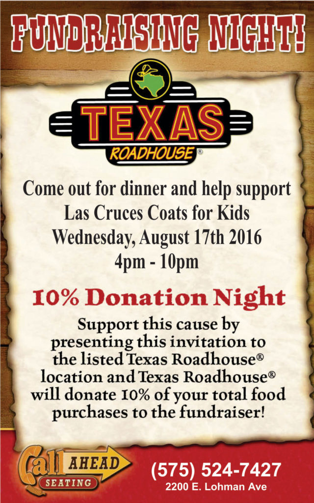 Coats for Kids - Texas Roadhouse - Come Out for Dinner 8-17-16